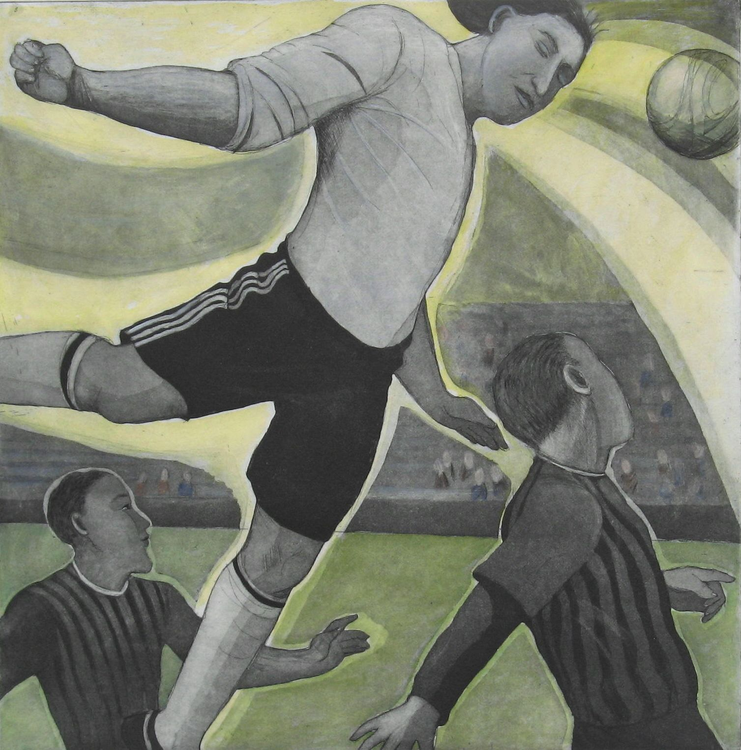 Artwork - Football Angel Etching and colour Print | Sandra Millar - Etching and colour