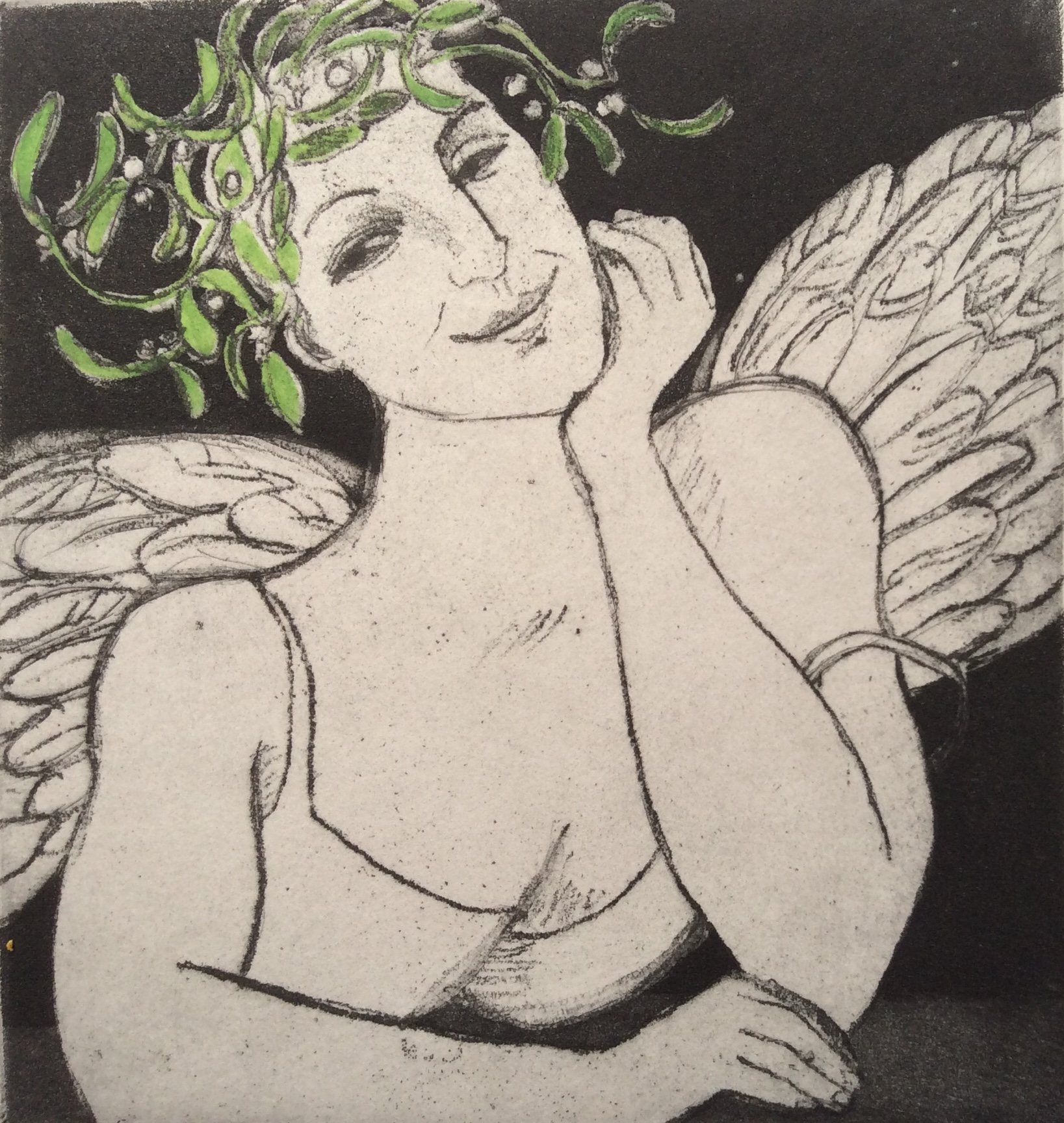 Artwork - Mistletoe Angel Etching and Watercolour Print | Sandra Millar - Etching and Watercolour