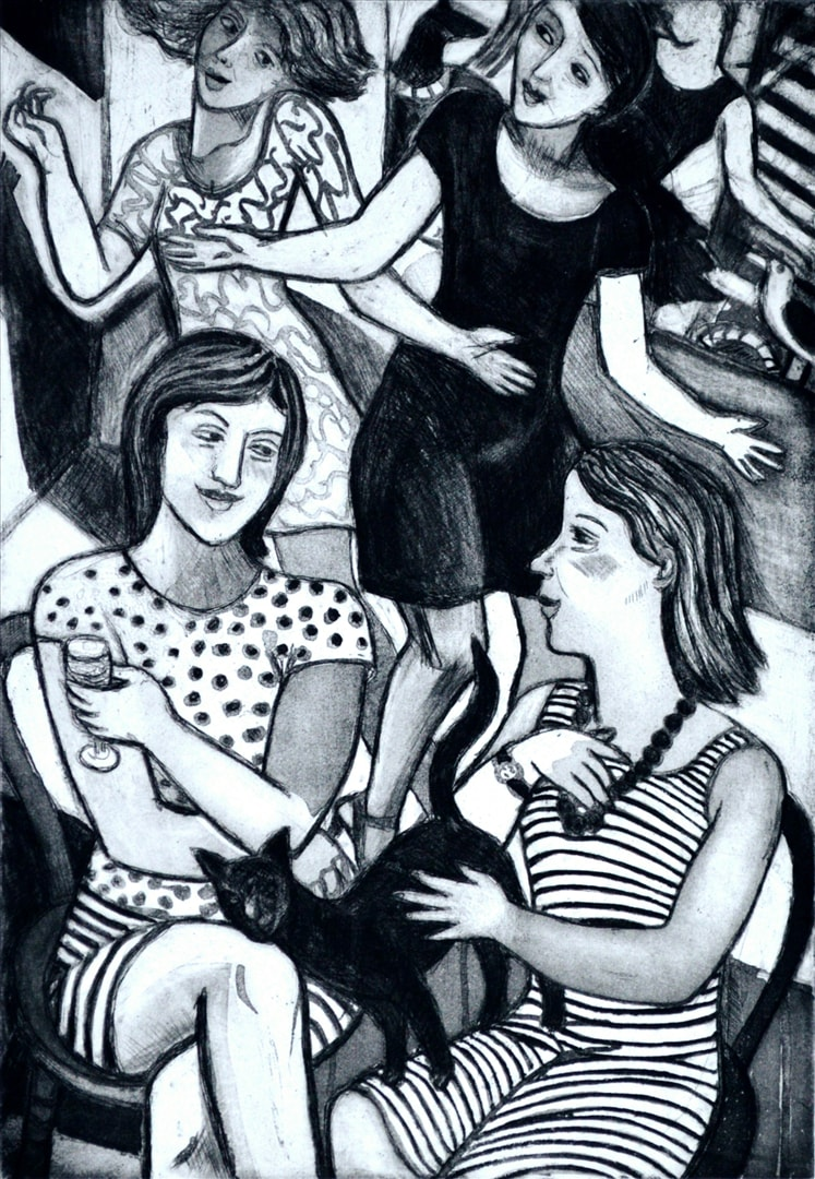 Artwork - Party Girls Etching Print | Sandra Millar - Etching