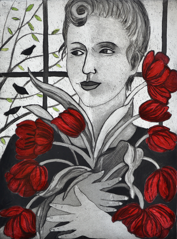 Artwork - Red Tulips Etching and Ink Print | Sandra Millar - Etching and Ink