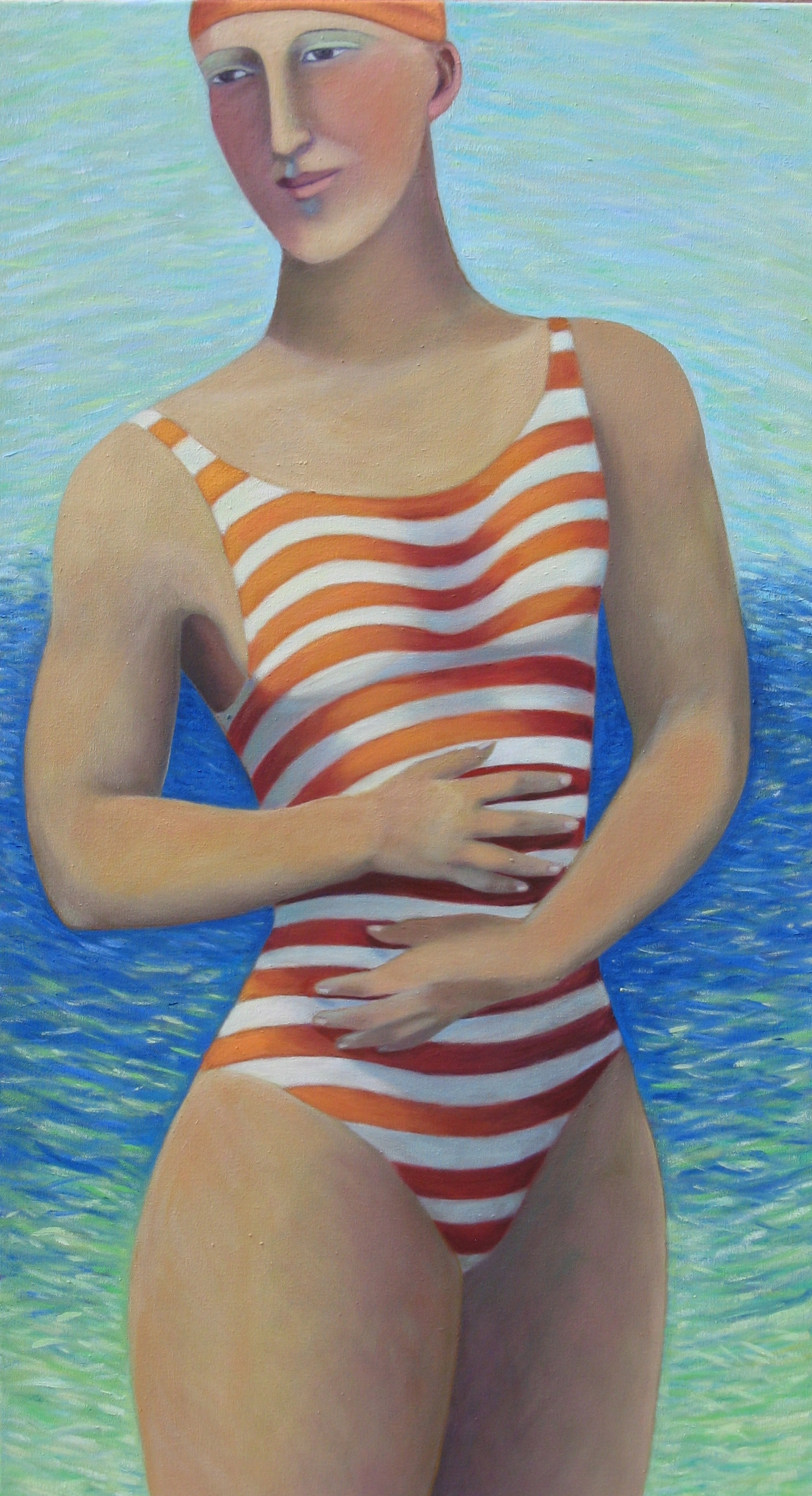 Artwork - Swimmer Oil on Canvas Painting | Sandra Millar - Oil on Canvas