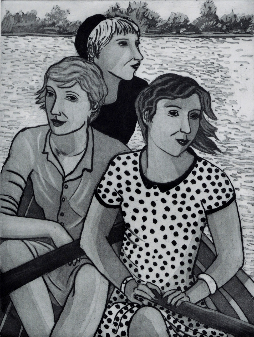 Artwork - Three Girls In A Boat Etching and sugar lift Print | Sandra Millar - Etching and sugar lift