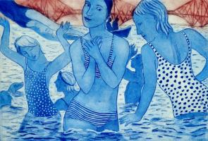 Bathers by the Bridge (blue an