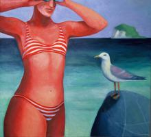 Swimmer with Seagull